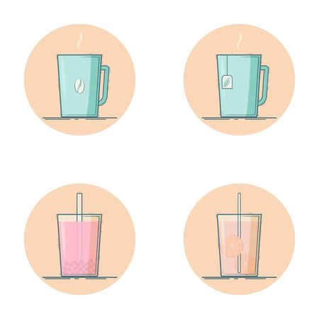 Vector set of beverage icons. Hot drinks - coffee, tea. Cold drinks -  bubble tea, lemonade. Isolated in circle. Mint and pink colors. Çizim