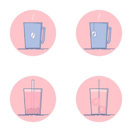 Vector set of beverage icons. Hot drinks - coffee, tea. Cold drinks -  bubble tea, lemonade. Isolated in circle. Flat design.