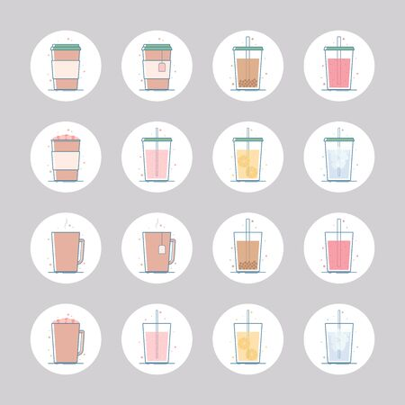 Vector set of beverage icons. Hot drinks - coffee, tea, cocoa, hot chocolate with marshmallow. Cold - lemonade, soda pop, smoothie, bubble tea, ice tea. Isolated in circle. Flat design.