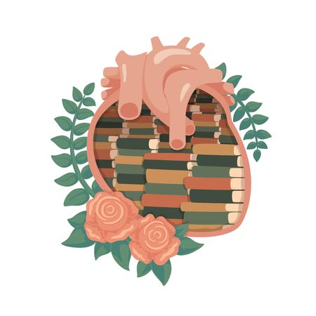 Vector illustration of library in heart. Decorated with tea roses and green branches. Isolated on white background. Illustration
