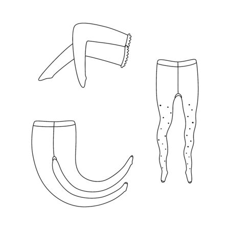 Vector illustration of pantyhose and stockings. One tights with dots. Transparent outline drawing on white background. Expanded stroke.