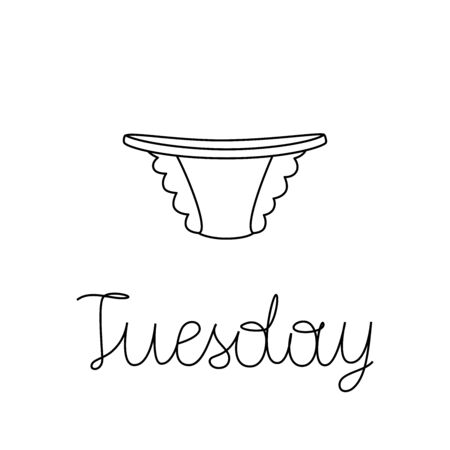 Vector illustration of lace tanga panties with lettering Tuesday. Weekly underpants. Stock Illustratie