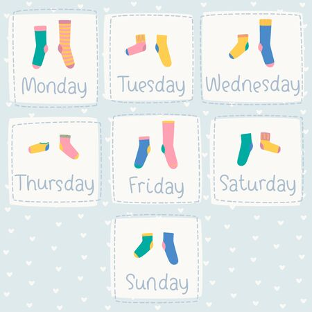 Vector set of weekly colorful socks with the names of the days of the week. Different socks in pairs. Hearts on blue background.
