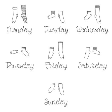 Vector illustration with a set of weekly socks with the names of the days of the week. Different socks in pairs.