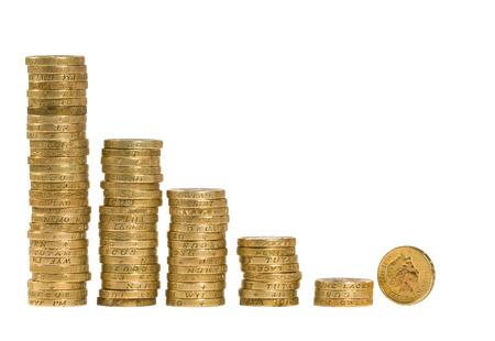British pièces disposées sur un fond blanc Banque d'images