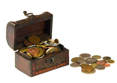 treasury: Wooden chest with coins on a white background