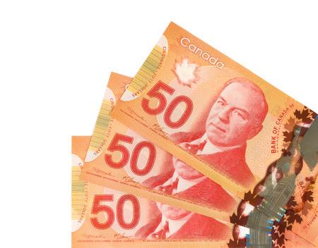 cinquante monnaie canadienne de dollars.Foreign sur fond blanc Banque d'images