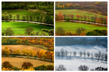change of seasons: four seasons landscape with countryside views of Preslav.