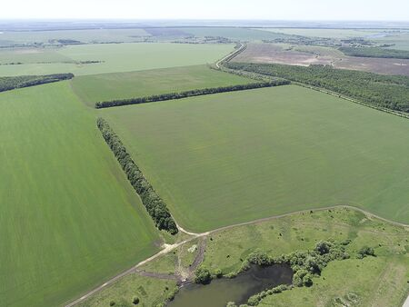 Aerial view from drone of the agricultural field Banque d'images