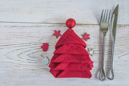 Christmas holiday place setting. Copy space, flat lay