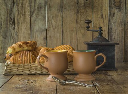 French breakfast with croissants and coffee. Retro style