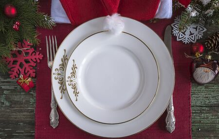 Festive place for christmas holiday dinner Banque d'images