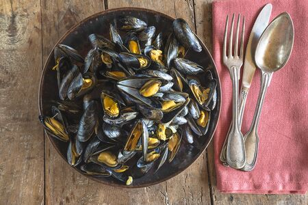 Plate with cooked mussels Banque d'images