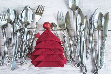 Christmas holiday place setting Banque d'images
