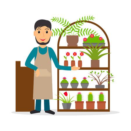 florista o florería masculina vendedor en el mostrador de estilo plano. Ilustración del vector del hombre sonriente venta de flores y plantas de interior.
