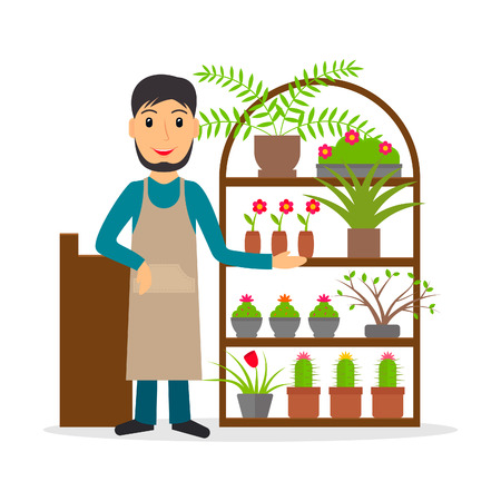 Male florist or flower shop salesperson at the counter in flat style. Vector illustration of smiling man selling flowers and indoor plants.