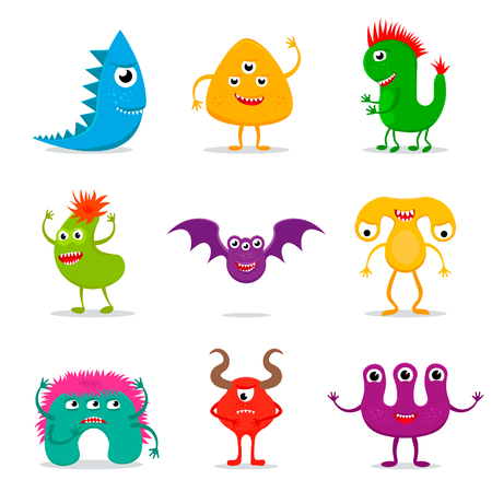 mutation: Set of cute cartoon monster characters on white background.