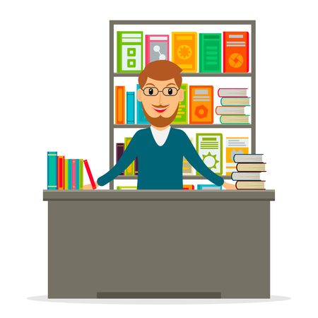bookseller: Male bookseller at the counter against shelves with books in flat style. Vector illustration of smiling man selling books at the bookstore or librarian at the library. Illustration
