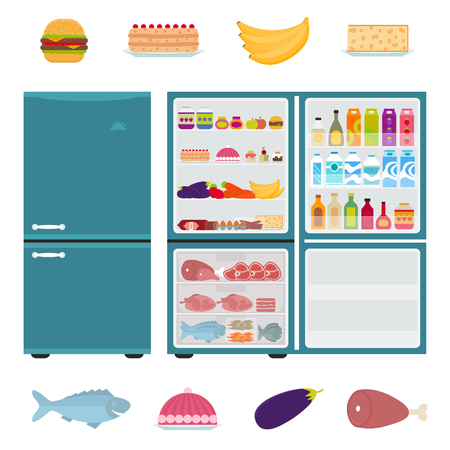 open refrigerator clipart. fridge open: illustration of closed and open refrigerator full food in flat style. clipart