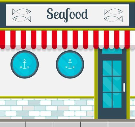 Mariscos fachada de restaurante de tipo plano. ilustración vectorial de la arquitectura cuadrado edificio público de la ciudad. Diseño pequeño negocio de los restaurantes. Foto de archivo - 62982828