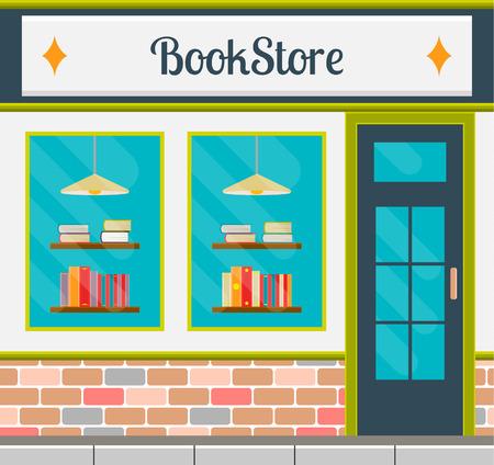 フラット スタイルの本屋のファサード。ベクトル市公共建築正方形のイラスト。中小企業店舗デザイン。  イラスト・ベクター素材