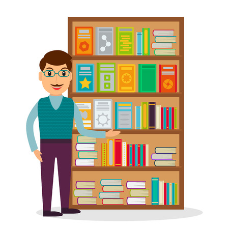 bookseller: Male bookseller against shelves with books in flat style. Vector illustration of smiling man selling books at the bookstore or librarian at the library. Illustration