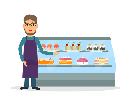 vitrine: Grocery store or bakery shop male salesperson against vitrine with cakes and pastry in flat style. Smiling gesturing man bakery seller.