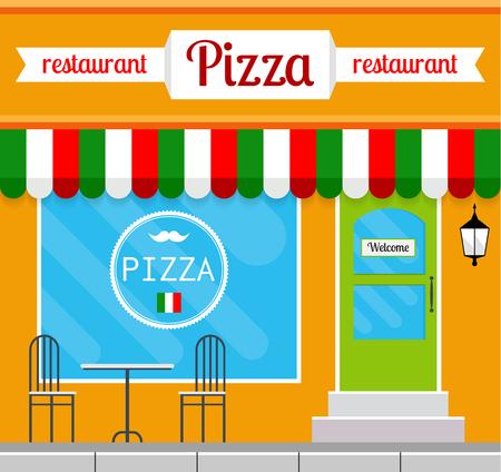Pizza de fachada de restaurante de tipo plano. EPS10 ilustración vectorial de la arquitectura cuadrado edificio público de la ciudad. Diseño pequeño negocio pizzería. Foto de archivo - 64037916