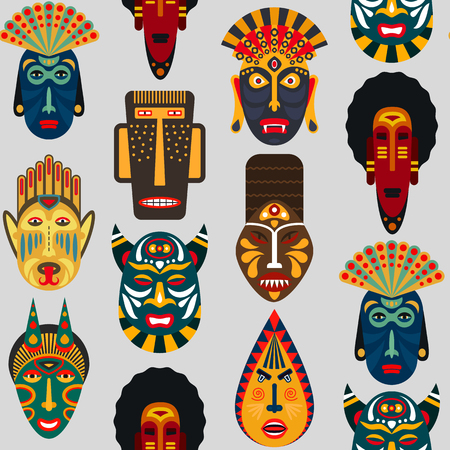 Seamless pattern of ethnic masks in flat style. EPS10 vector background of african tribal masks. Иллюстрация