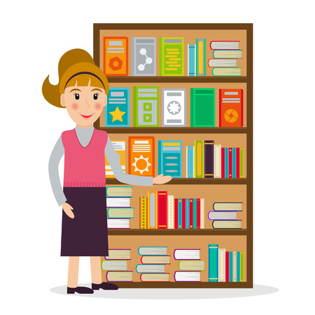bookseller: Female bookseller against shelves with books in flat style. Vector illustration of smiling woman selling books at the bookstore or librarian at the library.