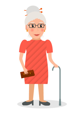 retired: Old woman with glasses and cane in flat style. Elderly woman character with walking stick.
