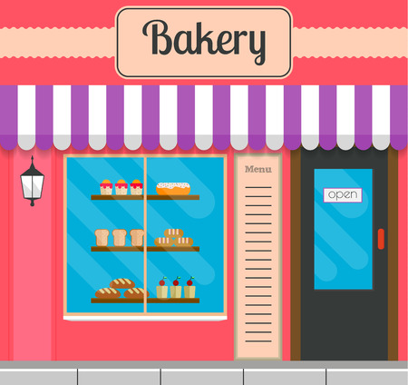 outdoor goods: Bakery facade in flat style. EPS10 vector illustration of city public building square architecture. Small business bake shop design.