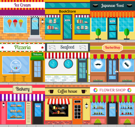 Set of different store fronts in flat style. Vector illustration of city public buildings square architecture. Collection of small business buildings facades design. Various food restaurants facades. Illusztráció