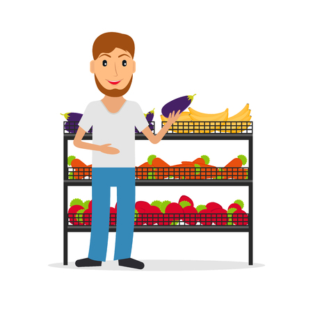 vitrine: Grocery store male salesperson against vitrine with vegetables and fruit in flat style. Smiling gesturing man greengrocery seller against vitrine with food.