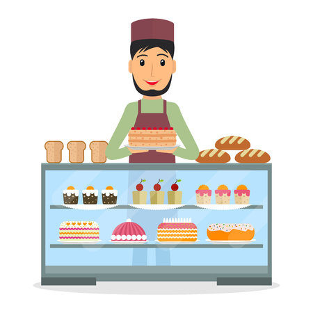 vitrine: Grocery store or bakery shop male salesperson near vitrine with cakes and pastry in flat style. Smiling man bakery seller at the counter. Illustration