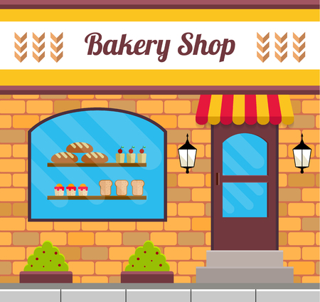Bakery facade in flat style. EPS10 vector illustration of city public building square architecture. Small business bake shop design.