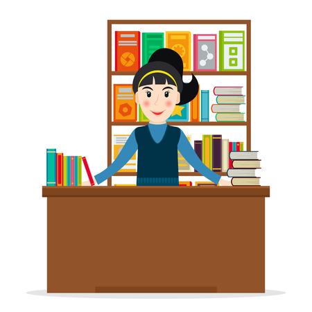 bookseller: Female bookseller at the counter against shelves with books in flat style. Vector illustration of smiling woman selling books at the bookstore or librarian at the library. Illustration