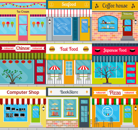 fronts: Set of different store fronts in flat style. Vector illustration of city public buildings. Collection of small business buildings facades design. Various food restaurants designs. Illustration