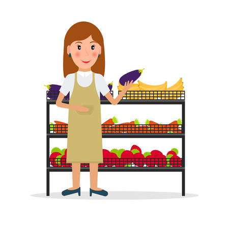 greengrocery: Grocery store female salesperson against vitrine with vegetables and fruit in flat style. Smiling gesturing woman greengrocery seller against vitrine with food.