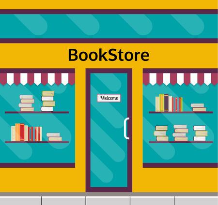 bookshop: Bookshop facade in flat style. EPS10 vector illustration of city public building square architecture. Small business store design. Illustration
