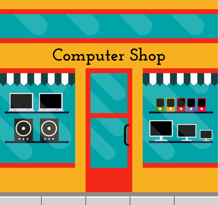 Computer shop facade in flat style. EPS10 vector illustration of city public building square architecture. Small business store design. Illustration
