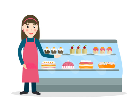 vitrine: Grocery store or bakery shop female salesperson against vitrine with cakes and pastry in flat style. Smiling gesturing woman bakery seller.