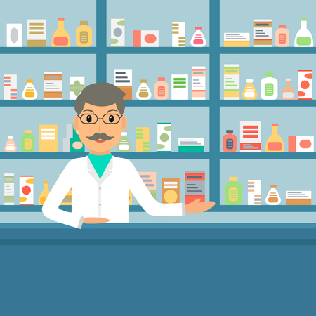 drugstore: Smiling gesturing man farmacist at the counter against shelves with drugs and medicines. Drugstore male salesperson at work. Vector illustration in flat style.