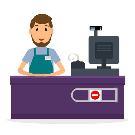 Ilustración vectorial de cajero masculino en el lugar de trabajo en el estilo plano. Sonriendo el hombre en el mostrador de caja.