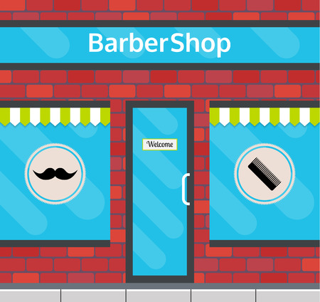 small business building: Barbershop facade in flat style. EPS10 vector illustration of city public building square architecture. Small business building design.