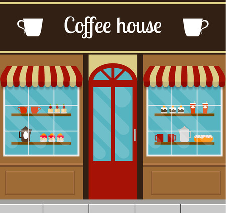 house building: Coffee house facade in flat style. EPS10 vector illustration of city public building square architecture. Small business cafe design.