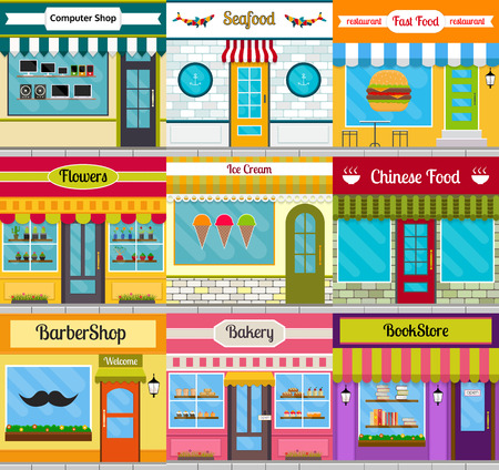 Set of different store fronts in flat style. Vector illustration of city public buildings square architecture. Collection of small business buildings facades design. Various food restaurants facades. Çizim