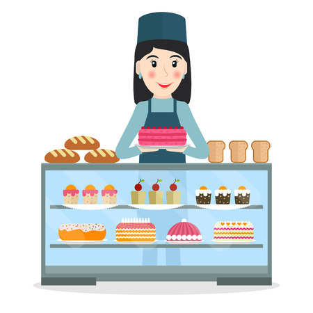 vitrine: Grocery store or bakery shop female salesperson near vitrine with cakes and pastry in flat style. Smiling woman bakery seller at the counter.