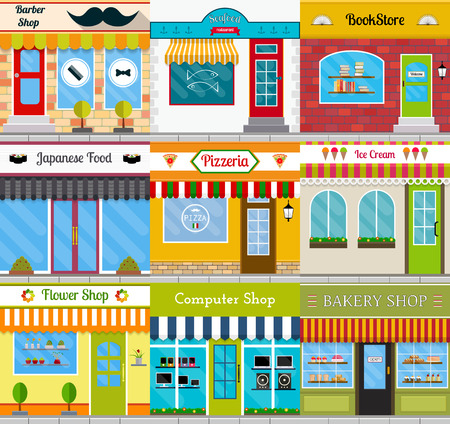 Set of different store fronts in flat style. Vector illustration of city public buildings square architecture. Collection of small business buildings facades design. Various food restaurants facades. Illustration