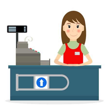 Female cashier at workplace in flat style. Vector illustration of smiling woman at the cashier desk.